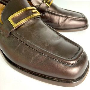 Authentic Vintage Gucci Brown Gold Classic Loafers